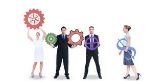 Επιχειρηματίες με τα χρωματισμένα εικονίδια Στοκ φωτογραφίες με δικαίωμα ελεύθερης χρήσης