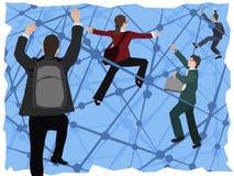Επιχειρηματίες με τις τσάντες που αναρριχούνται σε ένα symbolical δίκτυο Διανυσματική απεικόνιση