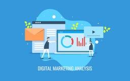 Επιχειρηματίες που αναλύουν τα σε απευθείας σύνδεση στοιχεία μάρκετινγκ, πληροφορία πελάτη, ποσοστό δέσμευσης Επίπεδο διανυσματικ ελεύθερη απεικόνιση δικαιώματος