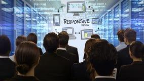 Επιχειρηματίες που εξετάζουν την ψηφιακή οθόνη που παρουσιάζει απαντητικό σχέδιο απεικόνιση αποθεμάτων