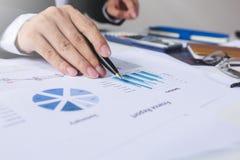 Επιχειρηματίες που εργάζονται με τα στοιχεία γραφικών παραστάσεων στο γραφείο, το στόχο διευθυντών χρηματοδότησης, την επιχείρηση Στοκ εικόνα με δικαίωμα ελεύθερης χρήσης