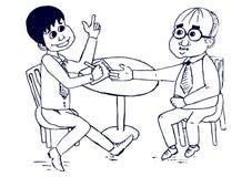 Επιχειρηματίες που κάνουν μια διαπραγμάτευση τους διανυσματικούς χαρακτήρες κινουμένων σχεδίων διανυσματική απεικόνιση