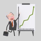Επιχειρηματίες που κάνουν μια παρουσίαση επιτυχίας στο λευκό πίνακα Στοκ Εικόνες