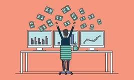 Επιχειρηματίες που κερδίζουν για την πώληση τη σε απευθείας σύνδεση έννοια Στοκ Εικόνες