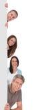 Επιχειρηματίες που κρατούν την αφίσσα Στοκ εικόνα με δικαίωμα ελεύθερης χρήσης