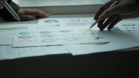 Επιχειρηματίες που μιλούν με τα διαγράμματα στην αρχή φιλμ μικρού μήκους