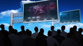 Επιχειρηματίες που προσέχουν τη διεπαφή στοιχείων στον πίνακα διαφημίσεων διανυσματική απεικόνιση