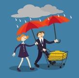 Επιχειρηματίες που προστατεύουν τα χρήματα για οποιοδήποτε πρόβλημα θύελλας Στοκ Φωτογραφία