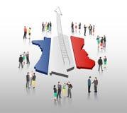 Επιχειρηματίες που στέκονται με το βέλος σκαλών και τη γαλλική σημαία Στοκ φωτογραφία με δικαίωμα ελεύθερης χρήσης