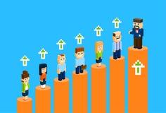Επιχειρηματίες που στέκονται την οικονομική φραγμών γραφικών παραστάσεων ομάδας έννοιας Businesspeople απεικόνιση διαγραμμάτων αύ Στοκ Εικόνες