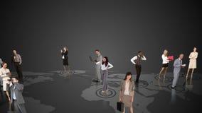 Επιχειρηματίες που συνδέουν στο γκρίζο υπόβαθρο απόθεμα βίντεο