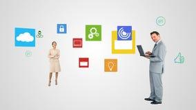 Επιχειρηματίες που χρησιμοποιούν την τεχνολογία διανυσματική απεικόνιση