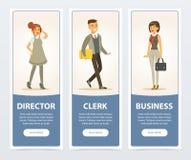Επιχειρηματίες, προσωπικό επιχείρησης, διευθυντής, υπάλληλος, επιχειρησιακά εμβλήματα για τη διαφήμιση του φυλλάδιου, προωθητική  ελεύθερη απεικόνιση δικαιώματος