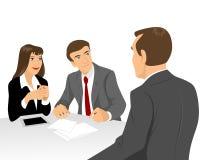 Επιχειρηματίες στο τραπέζι των διαπραγματεύσεων Διανυσματική απεικόνιση