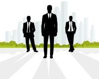 Επιχειρηματίες στο υπόβαθρο πόλεων Στοκ Εικόνα
