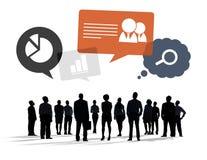 Επιχειρηματίες Multiethnic με τα επιχειρησιακά σύμβολα Στοκ Φωτογραφία