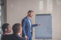 Επιχειρηματικό σχέδιο που εξηγείται στο flipchart από το CEO στους υπαλλήλους Στοκ φωτογραφία με δικαίωμα ελεύθερης χρήσης