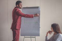 Επιχειρηματικό σχέδιο που εξηγείται στο flipchart από το CEO στους υπαλλήλους Στοκ εικόνα με δικαίωμα ελεύθερης χρήσης
