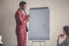 Επιχειρηματικό σχέδιο που εξηγείται στο flipchart από το CEO στους υπαλλήλους Στοκ Φωτογραφία
