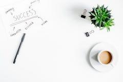 Επιχειρηματικό σχέδιο με το διάγραμμα hand-drawn στο άσπρο πρότυπο άποψης επιτραπέζιου υποβάθρου τοπ Στοκ Φωτογραφίες