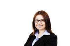 επιχειρησιακά γυαλιά που χαμογελούν φορώντας τη γυναίκα Στοκ φωτογραφίες με δικαίωμα ελεύθερης χρήσης