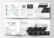 Επιχειρησιακά πρότυπα για τα τετραγωνικά φυλλάδια trifold Κάλυψη φυλλάδιων, επίπεδο σχεδιάγραμμα, εύκολο editable διάνυσμα Σχέδιο Στοκ φωτογραφία με δικαίωμα ελεύθερης χρήσης
