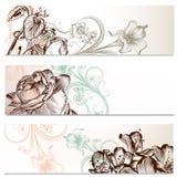 Επιχειρησιακά υπόβαθρα που τίθενται στο floral ύφος Στοκ Εικόνα
