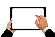 Επιχειρησιακά χέρια με τη σύνδεση ταμπλετών Στοκ εικόνα με δικαίωμα ελεύθερης χρήσης