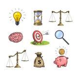 Επιχειρησιακές έννοιες καθορισμένες Λάμπα φωτός, κλεψύδρα, κλίμακες, εγκέφαλος, στόχος, ενίσχυση - γυαλί, σάκος των δολαρίων, pig διανυσματική απεικόνιση