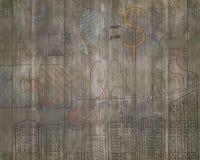 Επιχειρησιακές έννοιες doodles στον παλαιό καφετή ξύλινο τοίχο Στοκ Φωτογραφία