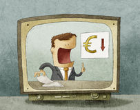 Επιχειρησιακές ειδήσεις στη TV Στοκ εικόνα με δικαίωμα ελεύθερης χρήσης