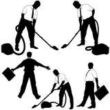 επιχειρησιακές καθαρίζοντας σκιαγραφίες Στοκ φωτογραφία με δικαίωμα ελεύθερης χρήσης