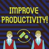 Το κείμενο γραψίματος λέξης βελτιώνει την παραγωγικότητα Επιχειρησιακή έννοια για την αύξηση το χρηματικό ποσό διαθέσιμα αγαθών κ διανυσματική απεικόνιση