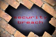 Επιχειρησιακή έννοια για τη ασφάλεια δεδομένων - τρύπα στο τουβλότοιχο με το δοχείο Στοκ φωτογραφία με δικαίωμα ελεύθερης χρήσης