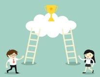 Επιχειρησιακή έννοια, επιχειρηματίας και επιχειρησιακή γυναίκα διανυσματική απεικόνιση
