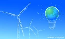 Επιχειρησιακή έννοια ιδέας ανεμόμυλων λαμπών φωτός Η οικολογία σώζει στον αέρα περιβάλλοντος την πράσινη ενέργεια βιώσιμη δύναμη  στοκ εικόνες με δικαίωμα ελεύθερης χρήσης