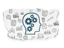 Επιχειρησιακή έννοια: Κεφάλι με τα εργαλεία σε σχισμένο χαρτί Στοκ φωτογραφίες με δικαίωμα ελεύθερης χρήσης