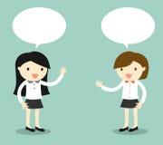 Επιχειρησιακή έννοια, ομιλία δύο επιχειρησιακών γυναικών επίσης corel σύρετε το διάνυσμα απεικόνισης Στοκ Φωτογραφίες