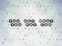 Επιχειρησιακή έννοια: Παίρνετε τι πληρώνετε για στο υπόβαθρο εγγράφου ψηφιακών στοιχείων απεικόνιση αποθεμάτων