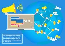 Επιχειρησιακή έννοια που διαφημίζει το κοινωνικό seo δικτύων για την κυκλοφορία Στοκ Εικόνες