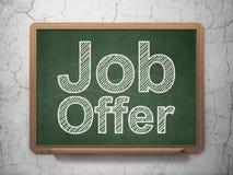Επιχειρησιακή έννοια: Προσφορά εργασίας στο υπόβαθρο πινάκων κιμωλίας Στοκ Φωτογραφία