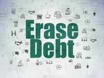 Επιχειρησιακή έννοια: Σβήστε το χρέος στο υπόβαθρο εγγράφου ψηφιακών στοιχείων στοκ φωτογραφία