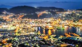 Επιχειρησιακή έννοια, σύγχρονη εικονική παράσταση πόλης επίδρασης μετατόπισης κλίσης του σούρουπου του Ναγκασάκι από το inasa υπο στοκ εικόνα με δικαίωμα ελεύθερης χρήσης