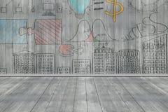 Επιχειρησιακή έννοια doodles στο σκούρο γκρι ξύλινους τοίχο και το πάτωμα Στοκ φωτογραφίες με δικαίωμα ελεύθερης χρήσης