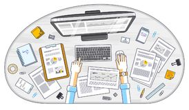 Επιχειρησιακή ανάλυση, εργαζόμενος γραφείων ή επιχειρηματίας επιχειρηματιών wor ελεύθερη απεικόνιση δικαιώματος