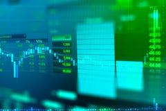 Επιχειρησιακή γραφική παράσταση και εμπορικό όργανο ελέγχου της επένδυσης στις χρυσές εμπορικές συναλλαγές Στοκ Εικόνες