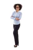 Επιχειρησιακή γυναίκα αφροαμερικάνων που απομονώνεται στο λευκό Στοκ Φωτογραφία