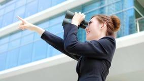 Επιχειρησιακή γυναίκα με διοφθαλμικό Στοκ Εικόνες