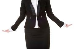 Επιχειρησιακή γυναίκα με τα ανοικτά χέρια Στοκ Εικόνα