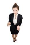 Επιχειρησιακή γυναίκα με τα χρήματα διαθέσιμα Στοκ Εικόνες